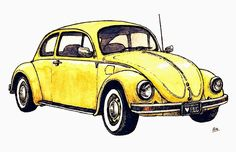 Find images and videos about art, drawing and yellow on We Heart It - the app to get lost in what you love. Volkswagen, Beetle Car, Vw Vintage, Garage Art, Car Drawings, Vw Beetles, Retro, Vintage Posters, Watercolor Art