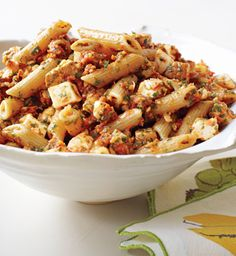 Penne with Tomato Pesto and Smoked Mozzarella from Epicurious.com #myplate #wholegrains