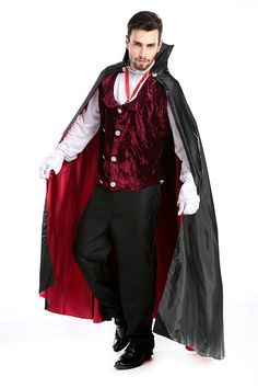 Baju Male Cosplay Magician Man Cloak Vampire Movies Costumes 5pcs Set ** You can get more details by clicking on the image.