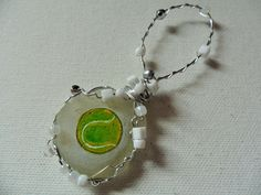 Tennis ball gift - Hand painted sea glass Christmas tree decoration with beads and wire by ShePaintsSeaglass on Etsy