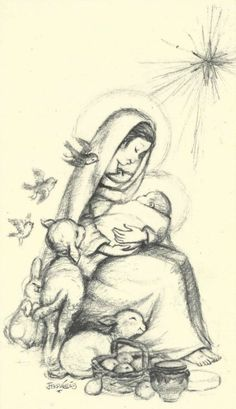 Navidad Ferrandiz en blanco y negro Religious Images, Religious Art, Christmas Illustration, Illustration Art, Nativity Painting, Jesus Drawings, Blessed Mother Mary, Mary And Jesus, Jesus Pictures