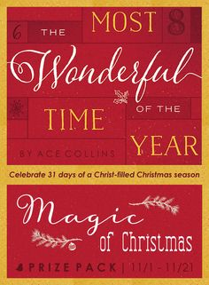 Make this upcoming Christmas holiday a Christ-filled season of joy and wonder with the help of Ace Collins' new devotional, The Most Wonderful Time of the Year. From December to New Year's Eve, reawaken the Christmas season with daily scripture and inspirational readings. Celebrate the release of the book by entering to win a Magic of Christmas Prize Pack . Click for details!