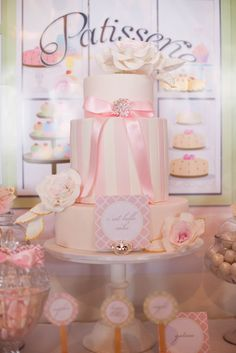 Pretty pink cake for a patisserie party