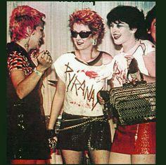 Punk style, 1977: The Pyranas, punk girl gang. L-R: Margot Olavarria (Go-Gos), Shannon Wilhelm (Castration Squad), Sheila Edwards (Screamers).