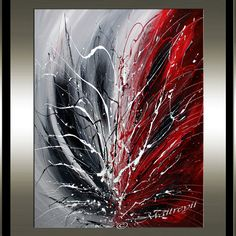 Decorate your home and office with the original art work on canvas. This is one of the best quality abstract oil painting made by Maitreyii Fine Art.  More paintings available here: http://www.etsy.com/shop/largeartwork  =============================================================  TITLE: Shade of Love SIZE: 40 Tall, 30 Wide, 3/4Deep ( Stretched Canvas Ready to Hang)   ====================================================  ~~ COLOR: Red Black White  ~~ MEDIUM: Professional grade acrylic…