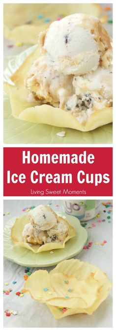 This crunchy Homemade Ice Cream Cups recipe has only 5 ingredients and is easy to make. Enjoy delicious buttery cups at home, better than store bought. More dessert recipes at livingsweetmoments.com via @Livingsmoments #ad #ItsTheCow