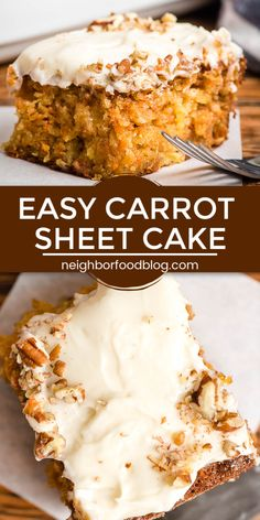 Easy Carrot Sheet Cake This super moist carrot sheet cake is perfect for Easter or any time of year! This easy carrot cake recipe is loaded with pineapple and chopped pecans and smothered in a cream cheese frosting for the ultimate carrot cake! Easy Carrot Cake, Moist Carrot Cakes, Moist Carrot Cake Recipe With Pineapple, Frosting For Carrot Cake, Desserts With Pineapple, Ultimate Carrot Cake Recipe, Carrot Cake Bread, Carrot Spice Cake, Sheet Cake Recipes