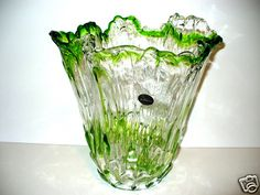 MURANO GREEN AND CLEAR WITH RUFFLE EDGES VASE