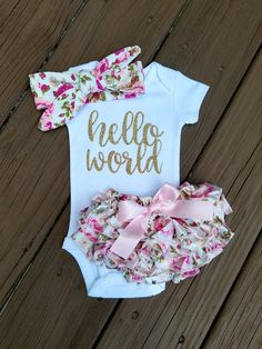 Janie Hello World Newborn Outfit Hello World Bodysuit Coming Home Outfit Girl