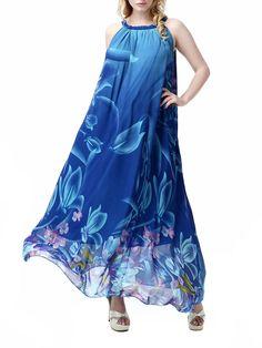 Elegant Women Halter Floral Print Irregular Chiffon Bohemian Maxi Dress