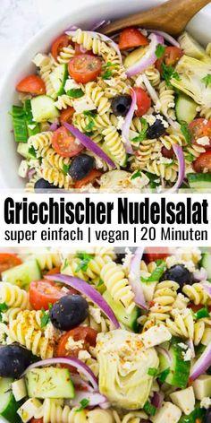 Leckere Nudelsalat Rezepte gesucht? Dieser griechischer Nudelsalat ist mein neuer Favorit! Super lecker, einfach und eines meiner liebsten Sommerrezepte! Mehr vegane Rezepte auf veganheaven.de! #vegan #vegetarisch
