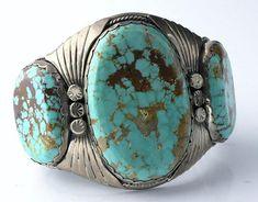 Vintage Navajo Sterling Silver Large Turquoise Cuff Bracelet