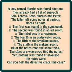 Murder Mystery who killed Martha