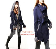 Tua#etsyrunway reg thick cotton fleece jacket and scarf set by idea2lifestyle