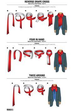 11 ways to tie a scarf, menswear, scarf, Mens Scarf Fashion, Blazer Fashion, Fashion Outfits, Fashion Scarves, Fashion Fashion, Stylish Men, Men Casual, Tie A Necktie, Head Scarf Tying