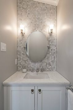 Now it opens on a powder room. Ever since your powder room is smaller than your primary bathroom, it's smart to decide on a sink that's small, yet inc. Bathroom Renos, Bathroom Makeover, Room Tiles, Powder Room Tile, Build A Closet, Bathrooms Remodel, Bathroom Design, Powder Room Remodel, Bathroom Redo