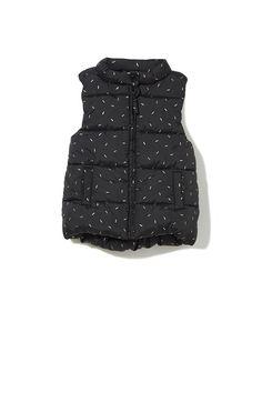 cotton on kids | mae puffer vest. black + gold sprinkles