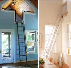 Awesome rolling ladder in white...it would go perfectly to roll between loft access points...