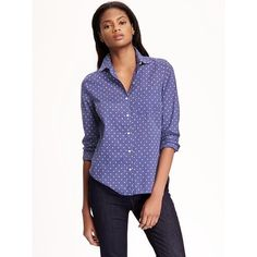 Old Navy Womens Classic Oxford Shirt ($17) ❤ liked on Polyvore featuring tops, petite, blue top, blue long sleeve shirt, fitted shirts, old navy shirts and all-over print shirts