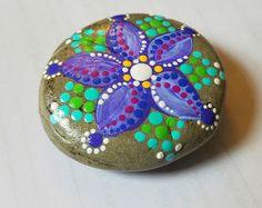 Fiore pittura / verniciato/arte/Miranda Pitrone/verniciato pietra/Teal Magenta/Home Decor/decorazione/Mandala pietra roccia /