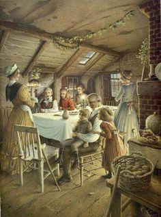 Ilustración de Roberto Innocenti para la obra Canción de Navidad, de Charles Dickens.
