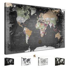 LanaKK® WELTKARTE Leinwandbild Poster Pinnwand Kork Vintage schwarz-weiß grau