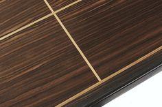 Macassar coffee table - clean, geometric inlay.