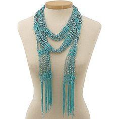 bead crochet scarf | Beaded Turquoise Crochet Skinny Scarf/ Necklace - Hur's