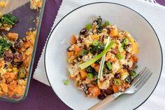 Zapekané batáty s kuskusom, tofu a fazuľou Good Food, Yummy Food, Tofu, Quinoa, Food And Drink, Low Carb, Mexican, Snacks, Meals