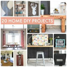 20 DIY Home Projects! So many great ideas for Home Decor! -- Tatertots and Jello