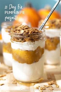 21 Day Fix Pumpkin Pie Yogurt Parfait with Maple Oats - 21 Day Fix Pumpkin Parfait - 21 Day Fix Desserts, 21 Day Fix Snacks, Snacks For Work, Healthy Work Snacks, Healthy Wraps, Healthy Habits, Healthy Foods, Healthy Eating, Whole Foods