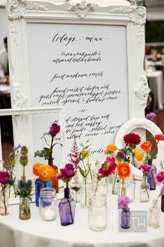 Wave Hill Wedding by Daughter of Design + Hatch Creative Studio + Christian Oth Studio LOVE this decor! The painted white frames, the scattered posies and the calligraphy menu! Photography by , Event Planning by , Floral & Event Design by Wedding Menu, Wedding Table, Wedding Events, Our Wedding, Wedding Ideas, Weddings, Camp Wedding, Space Wedding, Wedding Summer