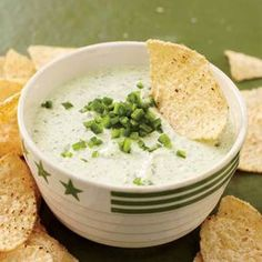Try this Zippy Green Chile Dip at your next party or tailgate! | http://www.rachaelraymag.com/Recipes/rachael-ray-magazine-recipe-search/appetizer-starter-recipes/zippy-green-chile-dip
