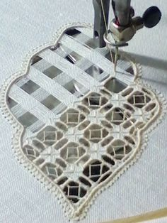 Drawn thread embroidery on machine!