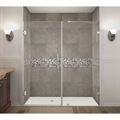 Aston Nautis 72 x 72-inch Completely Frameless Hinged Shower Door (Stainless Steel Finish), Silver