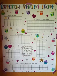 Reward chart for good behavior. When she does one of the things on the board, she gets a sticker. When she doesn't, I take a sticker off. When the board is full, she gets a toy of her choosing from toys r us. Behavior Sticker Chart, Good Behavior Chart, Home Behavior Charts, Reward Chart Kids, Kids Rewards, Chore Chart Kids, Behaviour Chart, Toddler Sticker Chart, Reward Charts For Toddlers