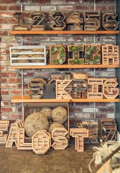 These letters are a great way to personalize a garden and make charming gifts. Made here in California from recycled wood and cedar. Frames are empty, and once (Outdoor Wood Nativity) Suculentas Diy, Cactus Y Suculentas, Letter Planter, Deco Cafe, Decoration Palette, Sun And Water, Agaves, Recycled Wood, Succulents Garden