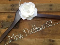 SALE Personalized Bridal Dress Hanger with Ivory Flower -Custom Name Hanger, Wedding Hanger,Bride Hanger,Engagement Gift on Etsy, $25.00