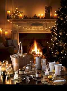 Laura Ashley Christmas - Everything You Could Wish For! Best time for year Cosy Christmas, Christmas Fireplace, Christmas Is Coming, Beautiful Christmas, All Things Christmas, Christmas Lights, Christmas Decorations, Christmas Wonderland, Christmas Breakfast
