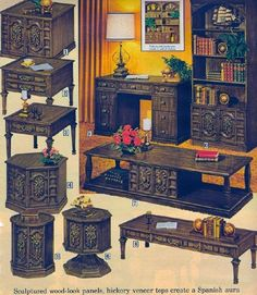 Growing up we had the two round end tables and the coffee table. 1971 GENUINE IMITATION sculptured wood-look panels, hickory veneer tops creates Spanish aura - Sears