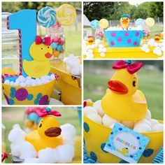 Splish Splash Rubber Duck Party Paper Mache Number One Bubble Glittery Glam First Ducky Birthday Party Sweets Table Candy Buffet via Autumn Lynn's Chocolate Sins