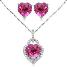 "Sterling Silver Heart Created Pink Sapphire and Diamond Ring Pendant Necklace and Earrings Box Set, Size 7 Amazon Curated Collection. $87.00. Made in India. Length of Pendant: 18"", Length of Ring: 0.37"", Length of Earring:0.25"". Height of Pendant: 0.83"". Width of Pendant: 0.38"", Width of Ring: 20mm, Width of Earring: 0.24"". Save 55%!"