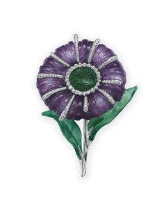 A DIAMOND AND PATE-DE-VERRE GLASS FLOWER BROOCH, BY TIFFANY & CO.