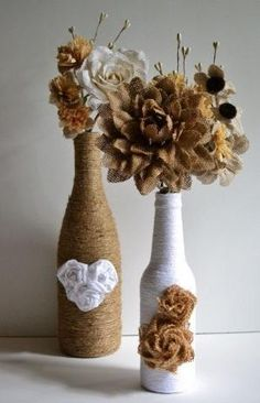Twine / yarn wrapped wine bottles / Upcycled / Hearts and Roses bottle by Dressv-Reviews