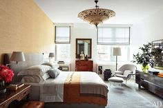 Bedroom is soothing, warm and inviting (Julianna Margulies home featured in Architectural Digest magazine).