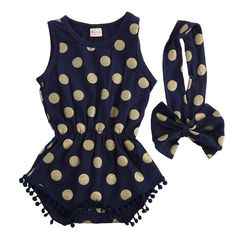 0310cfe923f Amazon.com  Baby Girl Clothes Gold Dots Bodysuit Romper Jumpsuit One-pieces  Outfits Set  Clothing