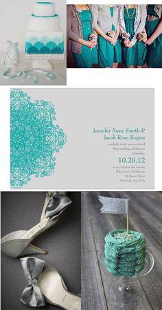 teal and grey wedding inspiration board
