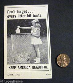 Image of Cute Little Girl Disposing Litter Keep America Beautiful 1960s Print Ad | eBay