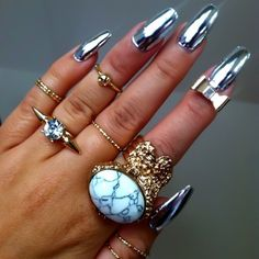 gold rings, silver nails