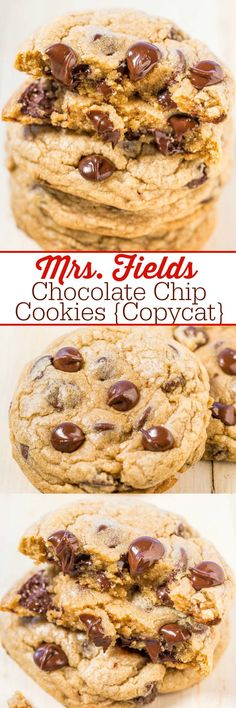 Fields Chocolate Chip Cookies {Copycat} - Learn all the SECRETS to making the famous Mrs. Fields cookies at home! The recipe is easy, spot-on, and they taste just like the real thing! (soft foods to eat chocolate chips) Chocolate Chip Cookies Rezept, Mrs Fields Chocolate Chip Cookies, Chocolate Chips, Best Chocolate Chip Cookies Recipe Ever, Mrs Fields Cookie Cake, Mrs Fields Cookie Recipe, Best Cookies Ever, Chocolate Cheesecake Recipes, Chocolate Party